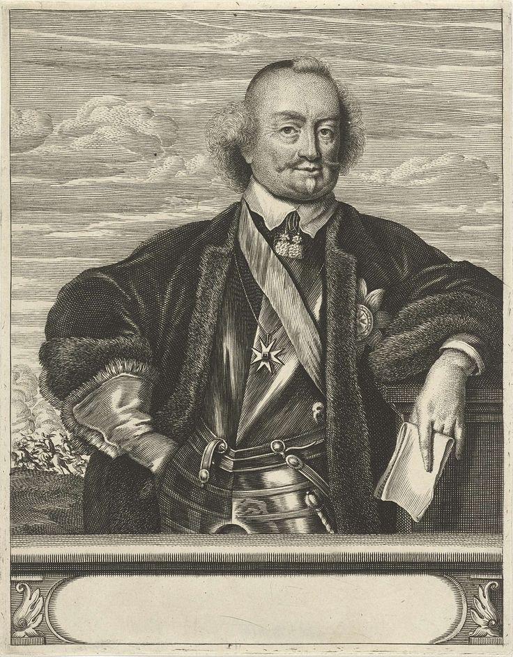 Christiaan Hagen | Portret van Johan Maurits, graaf van Nassau-Siegen, Christiaan Hagen, Jan de Baen, c. 1663 - 1695 | Portret ten halven lijve van Johan Maurits, graaf van Nassau-Siegen. Hij draagt een harnas, met daarover een mantel gevoerd met bont. Hij leunt met zijn linkerarm op een zuil en houdt een brief in zijn hand. Om zijn hals een ketting met een Maltezer kruis. Op de achtergrond is een veldslag afgebeeld. Onder zijn portret een plint met een leeg cartouche.