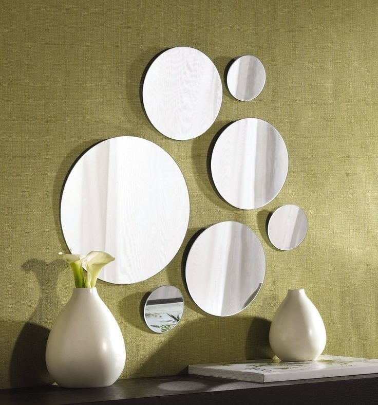 round shape glass mirror set 7 wall mount hanging art deco mirrors collage