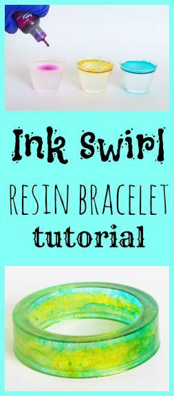 Resin Obsession blog:  How to make an ink swirl resin bracelet