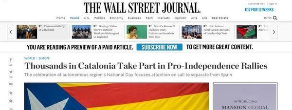 La Via Lliure y la Diada, en la prensa internacional