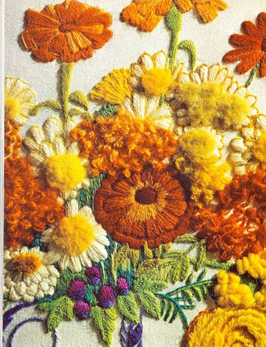 """♒ Enchanting Embroidery ♒   embroidered flowers from """"Erica Wilson's Embroidery Book"""" 1973"""