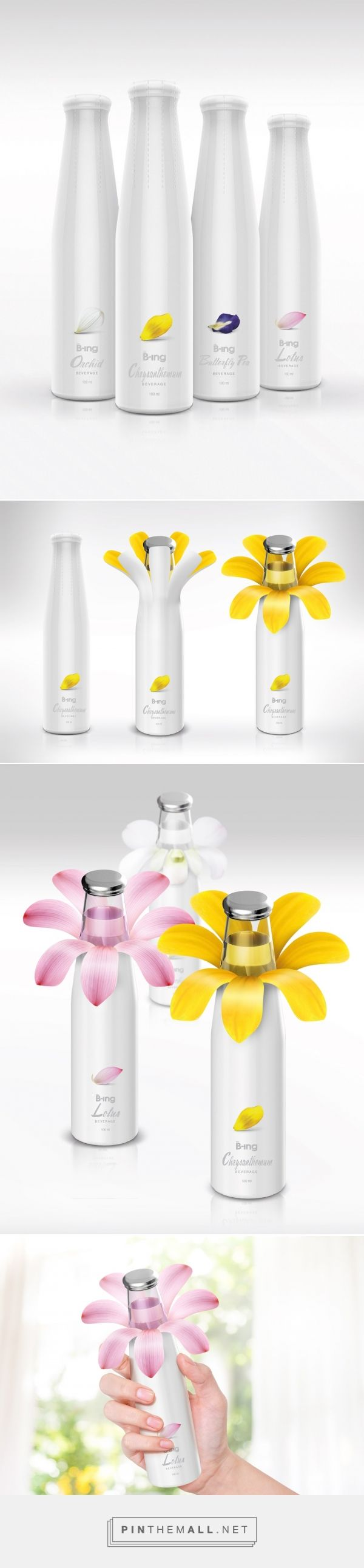 B-ing Flower Drink packaging design concept by Prompt Design - http://www.packagingoftheworld.com/2017/07/b-ing-flower-drink-concept.html - created via https://pinthemall.net