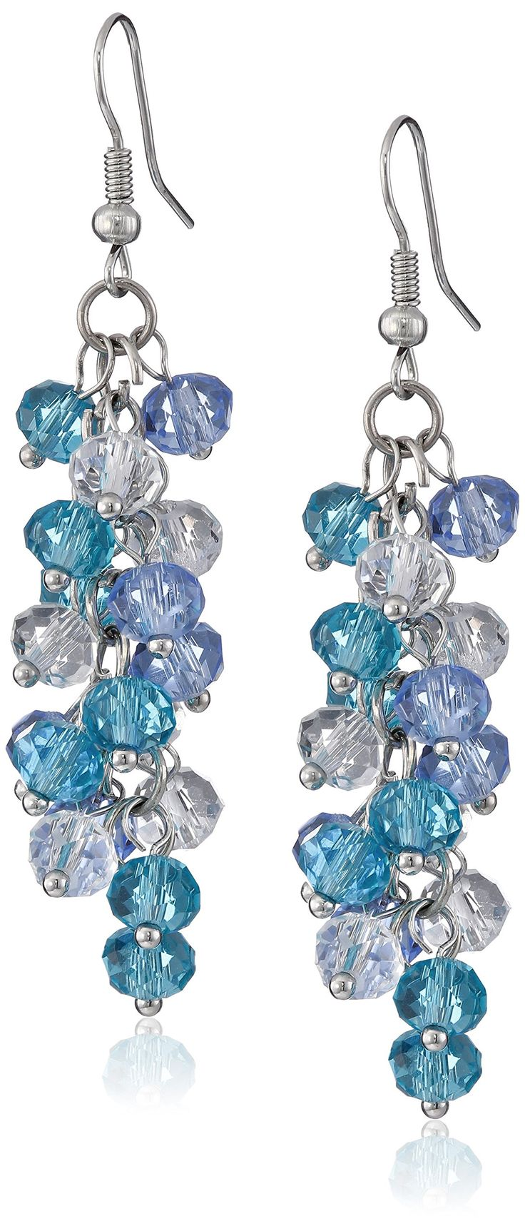"Ocean Blue Cluster Faceted Crystal Dangle Hook Earrings For Women 2"":"
