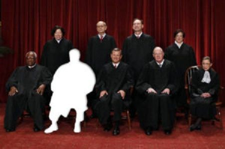 The justices of the U.S. Supreme Court gather for a group portrait in the East Conference Room at the Supreme Court Building in Washington, October 8, 2010. Seated from left to right in front row are: Associate Justice Clarence Thomas, Associate Justice Antonin Scalia, Chief Justice John G. Roberts, Associate Justice Anthony M. Kennedy, Associate Justice Ruth Bader Ginsburg. Standing from left to right in back row are: Associate Justice Sonia Sotomayor, Associate Justice Stephen Breyer…