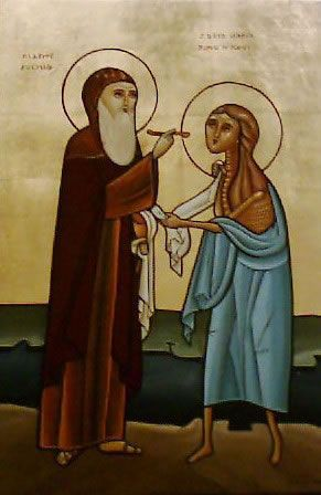 st mary the egyptian | St Mary of Egypt and Saint Zosimas. Coptic icon. mary-of-egypt-coptic ...