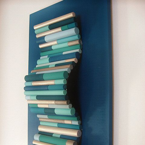 Wavy Wood Sculpture Modern Painted Wall Art - 12x48 Available