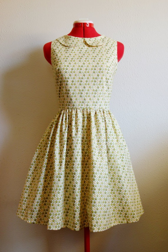 Green Apple Dress with peter pan collar womens size by RikkiB, $160.00