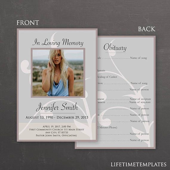 In Loving Memory Funeral Template Photoshop Psd Instant Download