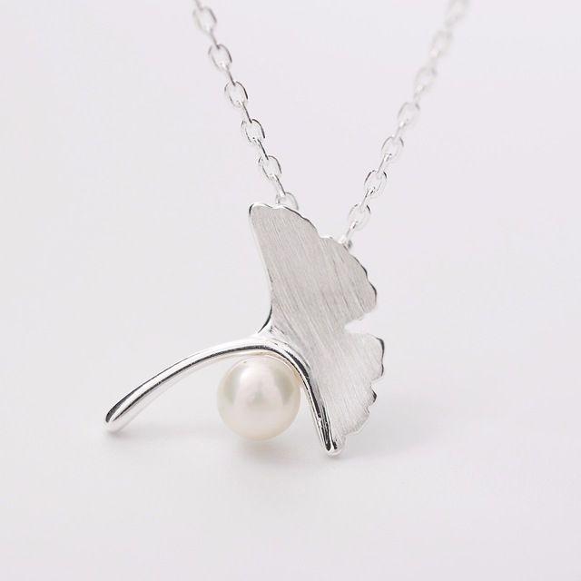 925 Sterling Silver Ginkgo Liści Naszyjniki Z Pereł Słodkowodnych Wisiorek Moda sterling-srebrny-biżuteria oświadczenie naszyjnik dla Kobiet