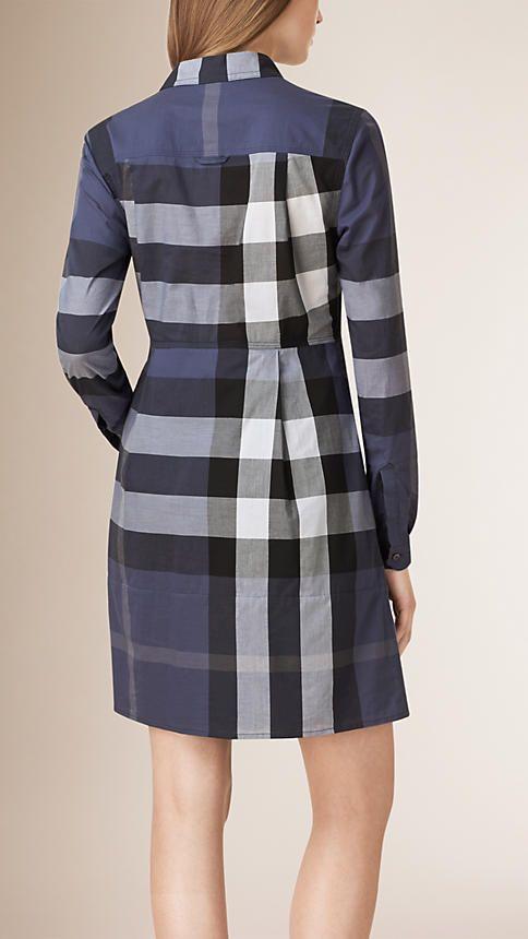 Azul acinzentado Vestido camisa de algodão com estampa xadrez - Imagem 2