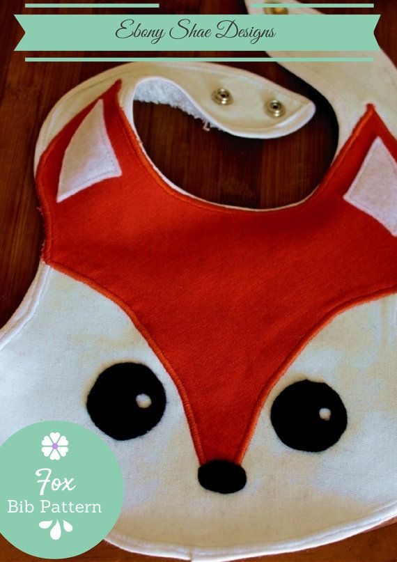 Fox Baby Bib Sewing Pattern Easy. PDF Pattern. What does the fox say?  It says this very easy bib sewing pattern is just what you need for the next baby shower!  You can make it in any color and it will still look super cute!  You can do it with a few pieces of material and your sewing machine.
