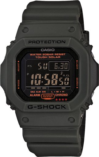 Very clean G-Shock watch.  I have owned 3 of these over the years and they have always lived up to their name.  This is a nice military style with reverse lighting/coloration for a clean and sneaky look.