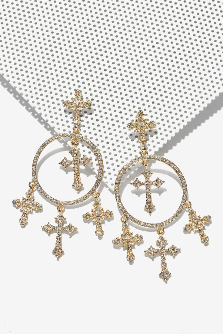 Luna Pavé Cross Earrings | Shop Accessories at Nasty Gal!
