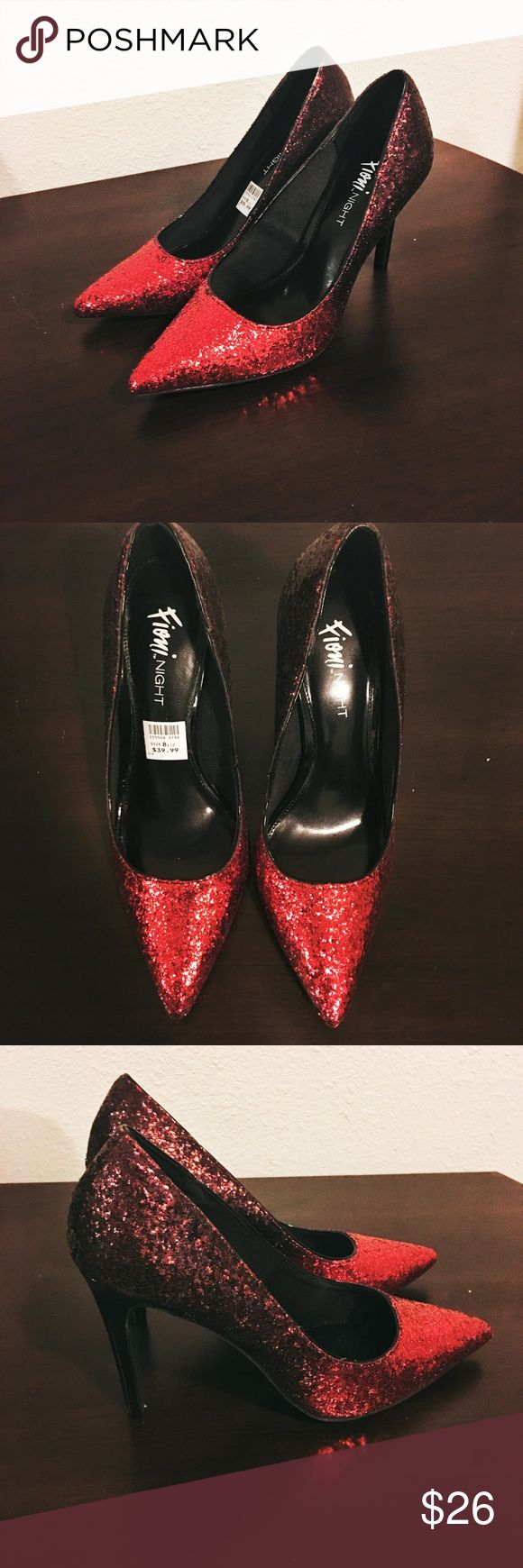 Fioni Night Red Glitter High Heels Never worn. In brand new condition. Perfect for a night out in the town! Fioni NIGHT Shoes Heels