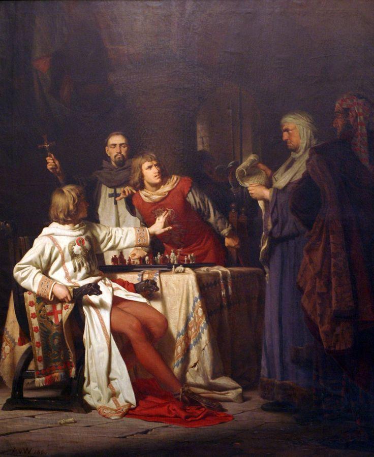 Anton von Werner, Konradin von Hohenstaufen und Friedrich von Baden wird 1268 zu Neapel im Kerker durch Robert von Bari auf Befehl Karls von Anjou das Todesurteil verkündet | by HEN-Magonza
