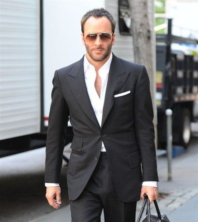 Tom Ford Black Suit No Tie Mens Wear Pinterest