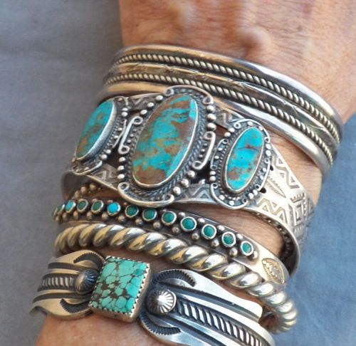 Old Vintage Fred Harvey Era Sterling Silver Turquoise Cuff Bracelet