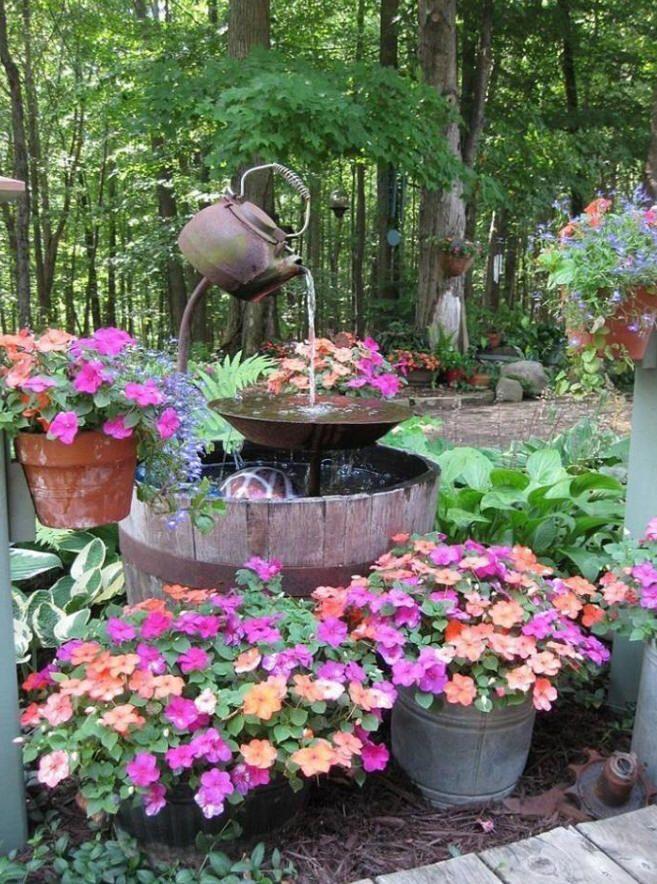 Back yard homemade fountain