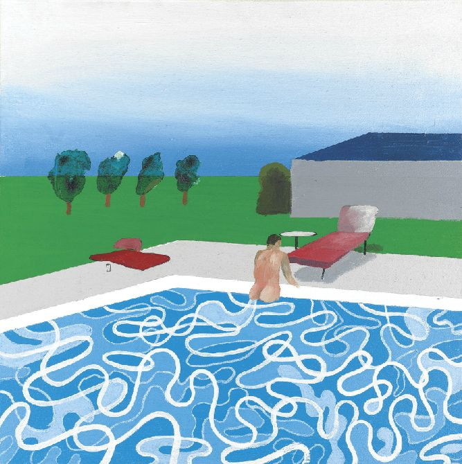 David Hockney - swimming pool (1965), oil on canvas