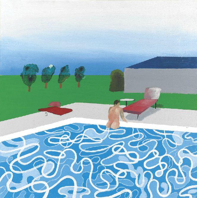 David Hockney - swimming pool (1965), oil on canvas