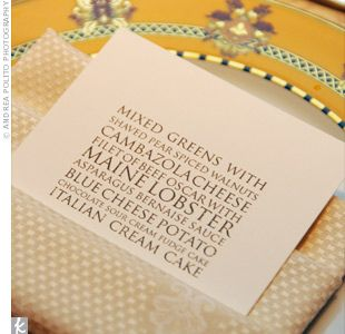 This modern type menu (left) would be so easy to DIY. Photo by Andrea Polito Photography via The Knot.