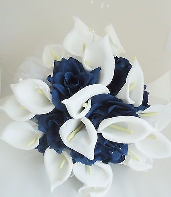 Top Quality Silk Flower Wedding Bouquet Calla Lily Navy Blue FlowersColors Combos, Bridal Bouquets, Silk Flowers, Blue Flowers, Calla Lilies, Wedding Bouquets, Navyblue, Bouquets Calla, Navy Blue
