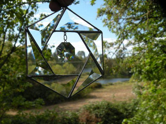 Vitral biselado cristal colgante por ravenglassgirl en Etsy
