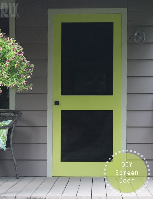 A great way to add some color to your front porch is by building a screen door and painting it a fun bright color. Outdoor Home Decor Idea: DIY Screen Door.