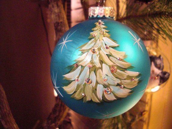 Hand painted Christmas ornament christmas tree by ArtisanColorado, $25.00