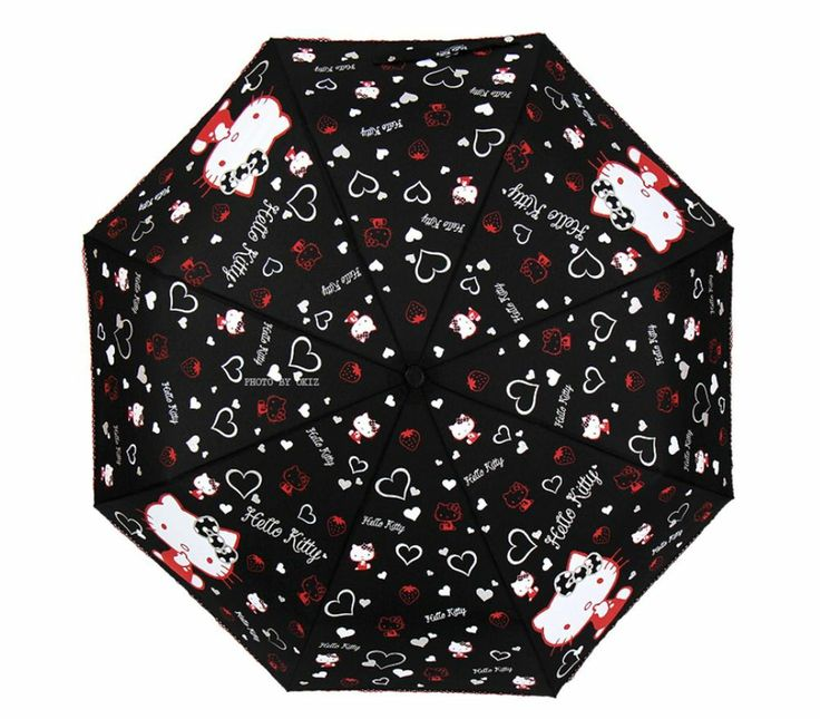 Hello Kitty Umbrella 3 Fold Automatic Auto Button Woman Lady Child Girl Heart