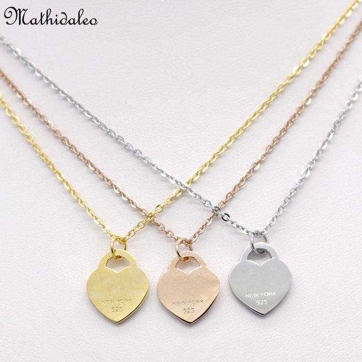 Sparkling Love Heart Gold Color Plated Pendant Necklace Stainless Steel Clavicle Charms Fashion Statement Necklace For WomenRX92