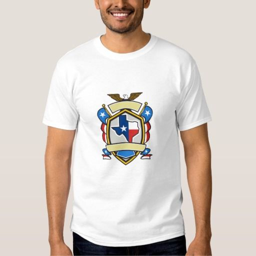 Texas State Map Flag Coat of Arms Retro Tee Shirt. Illustration of coat of arms style emblem of Texas state map draped in its state flag with american eagle up on top and unfurled Texan lone star flags on side set inside crest shield done in retro style. #Illustration #TexasStateMapFlag