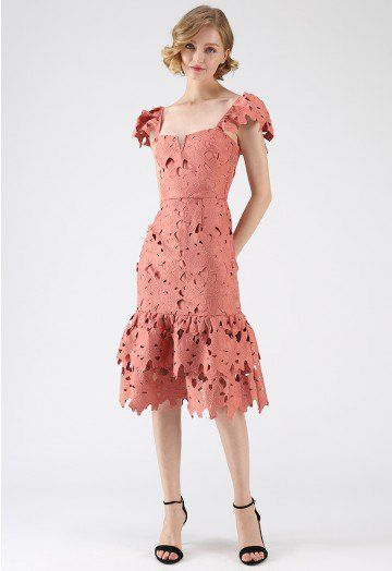 d7a962223f8e3 Sense Of Blossom Full Floral Crochet BodyCon Midi Dress in Coral - DRESS -  Retro, Indie and Unique Fashion
