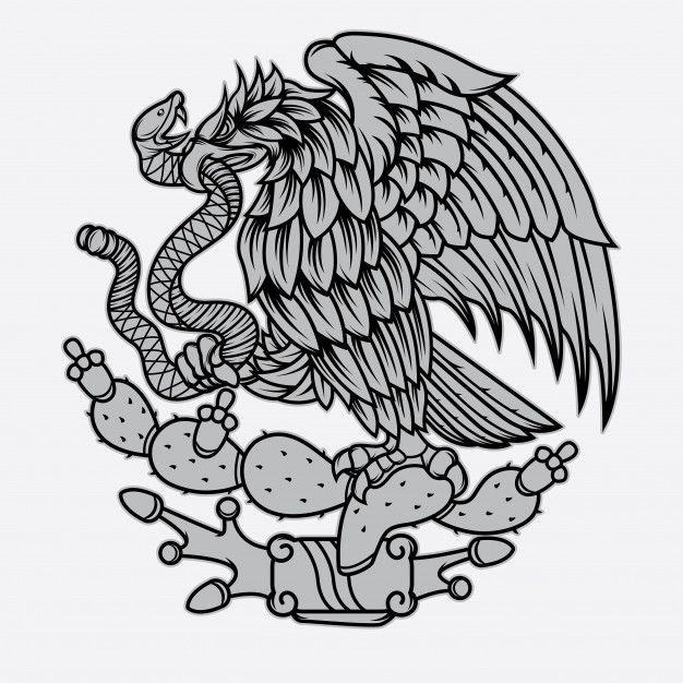 Mexican Eagle And Snake Tattoo Premium V Premium Vector Freepik Vector Background Mexican Art Tattoos Mexican Eagle Mexican Culture Art