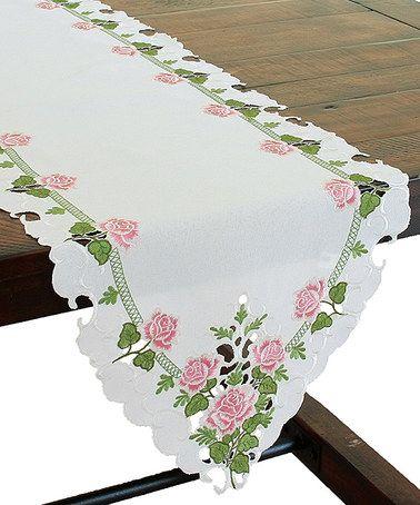 Look at this #zulilyfind! Medium Summer Rose Embroidered Table Runner #zulilyfinds