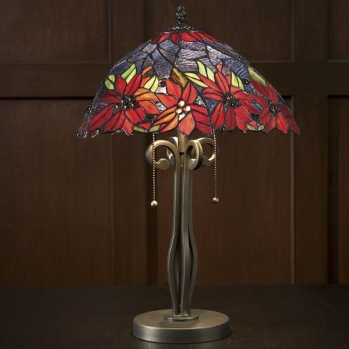 Poinsettia flower stained glass lamp from seventh avenue