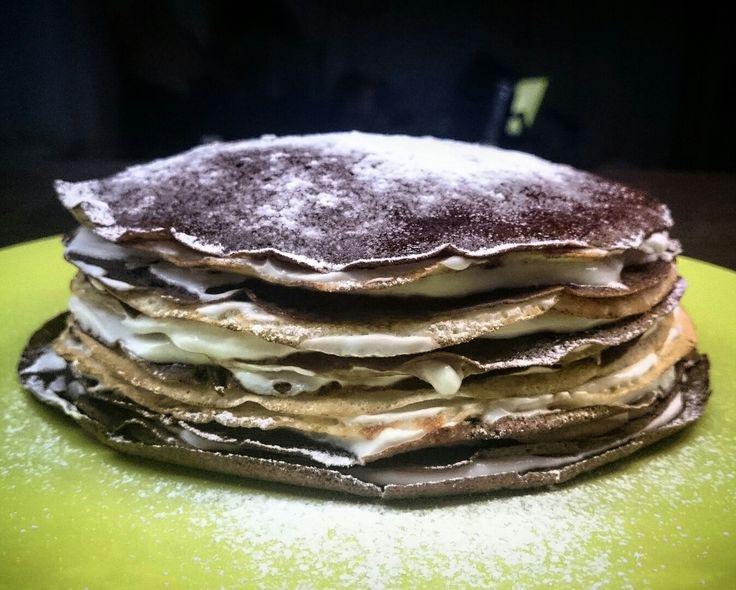 Amazing black and white pancake cake with mascarpone :)