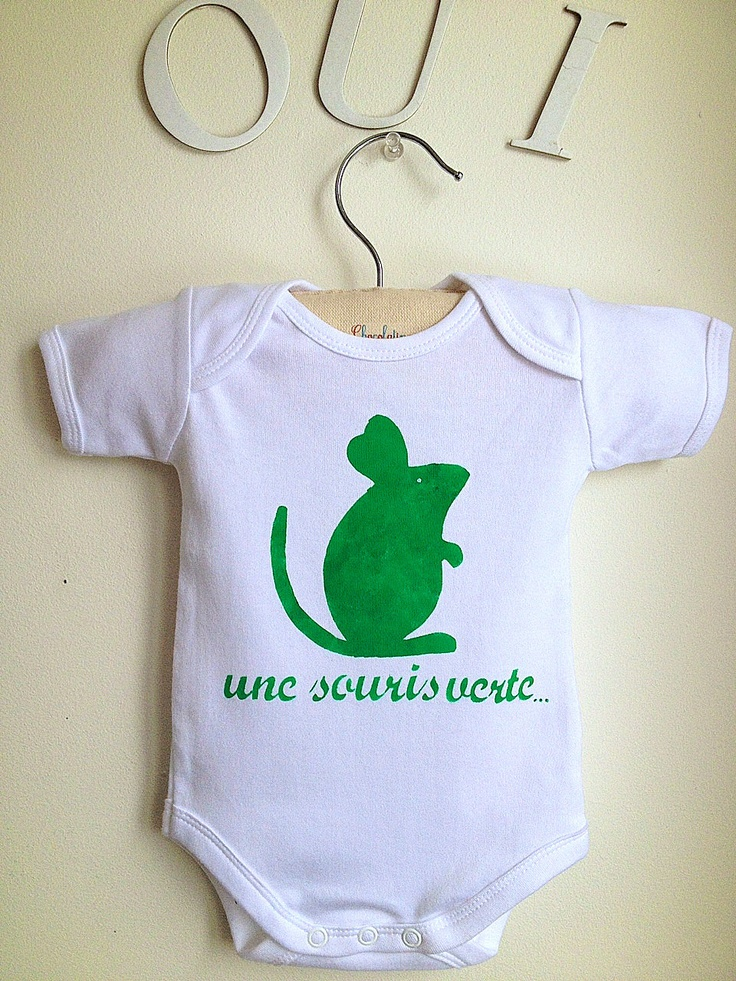A green mouse that ran in the grass...: Boy Or Girl, Long Sleeves, Baby Onesie, Baby Bodysuit, French Style
