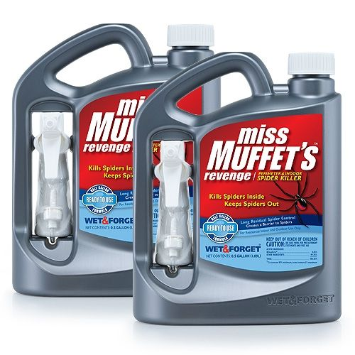 Miss Muffet's Revenge Perimeter & Indoor spider killer. Spray to kill spiders, Immediately kills spiders. Best spider killer for indoors, keep spiders away for up to 12 months. Repelling spiders has never been easier.