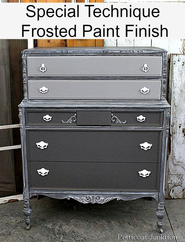 Two-Tone Vintage Dresser with White Drawer Pulls Petticoat Junktion