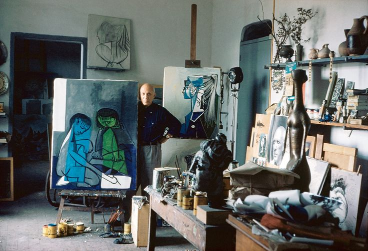 A portrait of Pablo Picasso in his studio taken by Alexander Liberman in 1956.