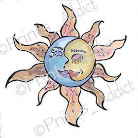 Sun And Moon Tattoo  Sun Kiss Moon Tattoo  Sun by PrintsAddict