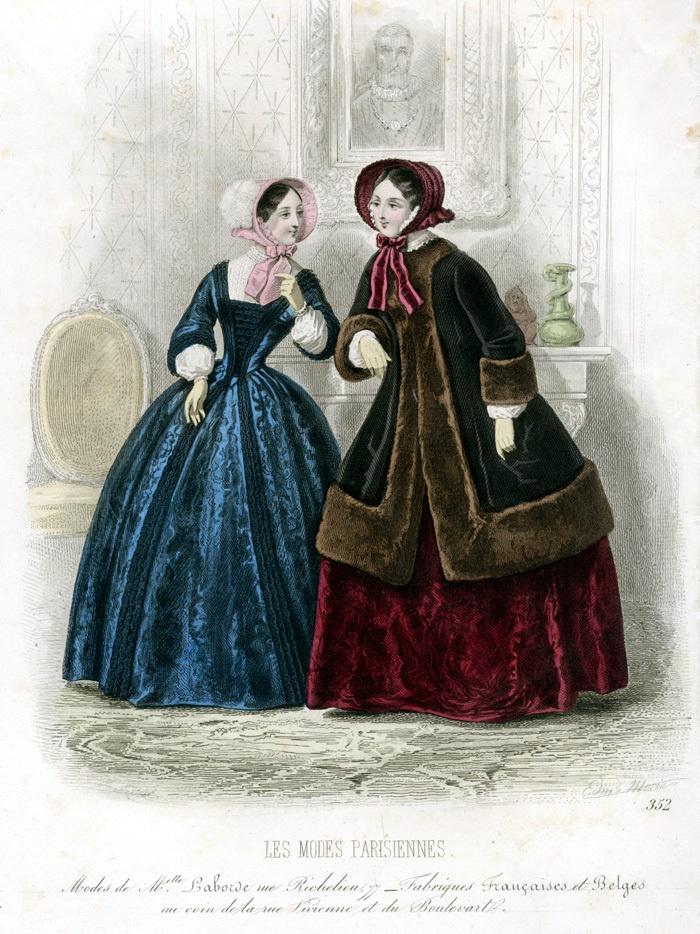 1840 fashion plate Les Modes Parisiennes, neckline on blue gown