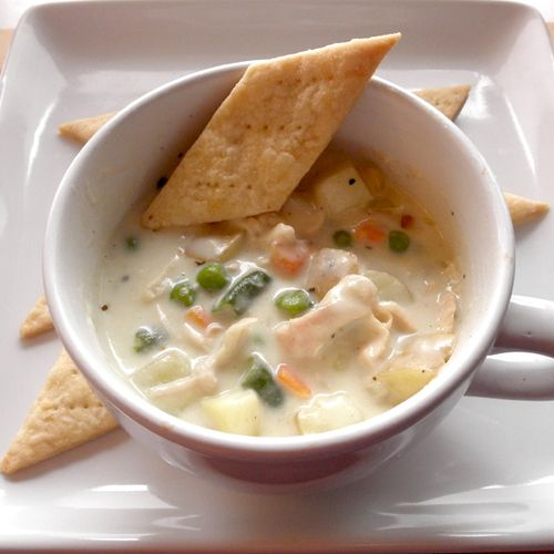 The Food Pusher: Chicken Pot Pie Soup. This was lick the bowl good. My kids even thanked me for it and that's rare.
