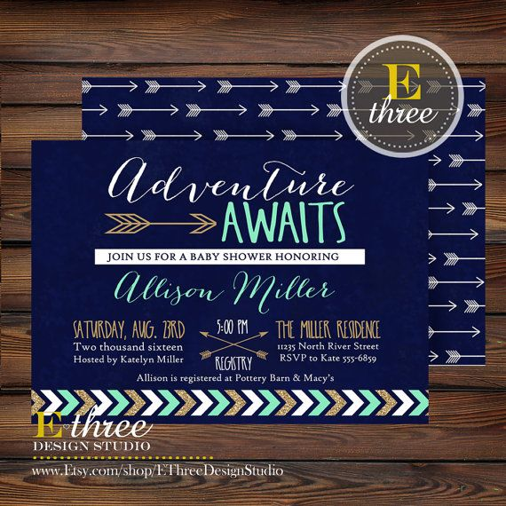 Adventure Awaits Baby Shower Invitation  Navy Mint Gold