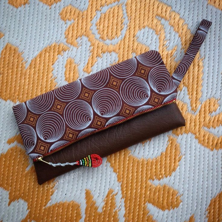 African Wax Print Fold Over Clutch Bag - Brown Shweshwe + Brown Faux Leather Trim - Bridesmaid's Gift (BSHBR1) by ChangNoii on Etsy