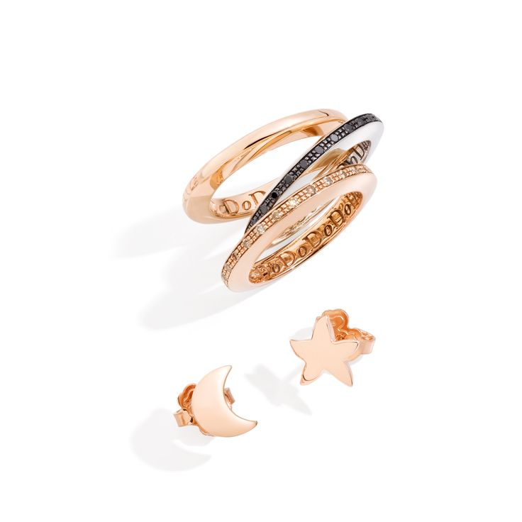 Light up your autumn nights with the rose gold, rose gold and brown diamond or silver with black diamond Disc rings. Complete your look with the rose gold Moon and Starfish earrings.