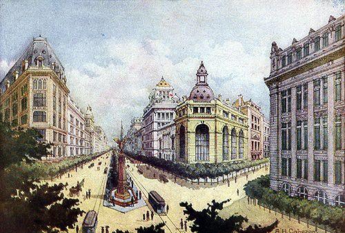 Pintura de A. H. Cabezón, esbozando el aspecto que se planeaba para la ciudad de Santiago con la propuesta de 1912 de la Sociedad Central...