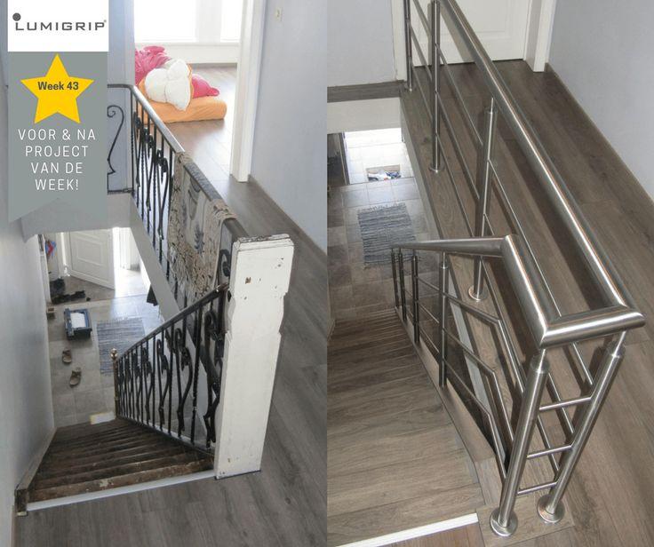 Renovatie van trap en overloop! RVS balustrade van #lumigrip PROJECT VAN DE WEEK!