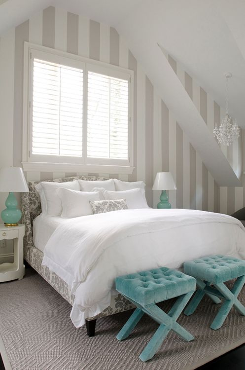 bedroomDecor, Guest Room, Ideas, Stripes Wall, Blue Bedrooms, Colors Schemes, Striped Walls, Beds Frames, House